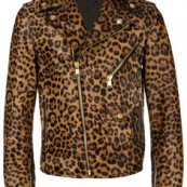 Versace leather leopard print biker jacket - Brown