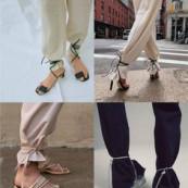 Truque de styling: sandália amarrada na calça