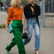 Dupla fashion : verde com laranja e jeans com preto @stylesightspotlight