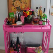 Wine glass & bottle holder, the flamingo stirrers, the coasters! All things I love for styling.