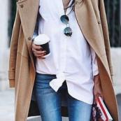 A camel coat, a whit