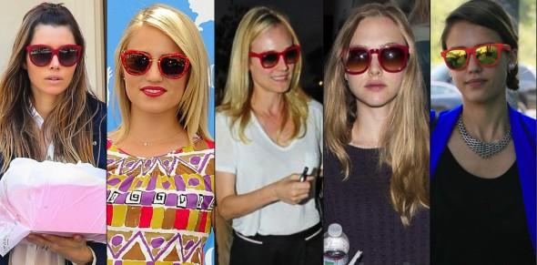 56c6276dc9b65 Óculos vermelho, pode ser ! - Fashionismo