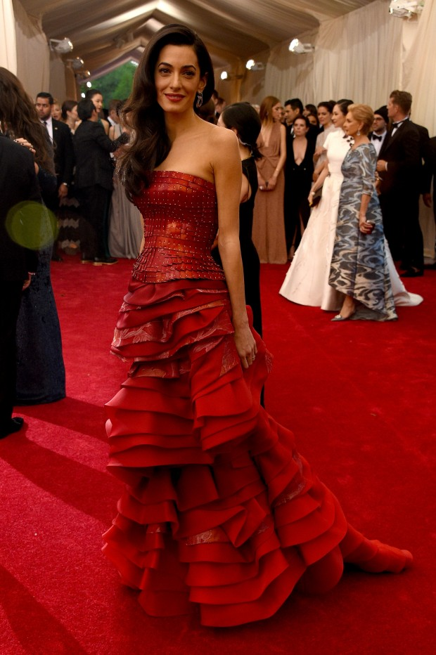 "NEW YORK, NY - MAY 04:  Amal Clooney attends the ""China: Through The Looking Glass"" Costume Institute Benefit Gala at the Metropolitan Museum of Art on May 4, 2015 in New York City.  (Photo by Larry Busacca/Getty Images)"