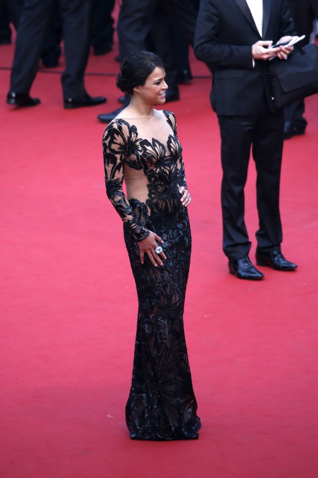 """CANNES, FRANCE - MAY 14:  Michelle Rodriguez attends Premiere of """"Mad Max: Fury Road"""" during the 68th annual Cannes Film Festival on May 14, 2015 in Cannes, France.  (Photo by Tristan Fewings/Getty Images)"""