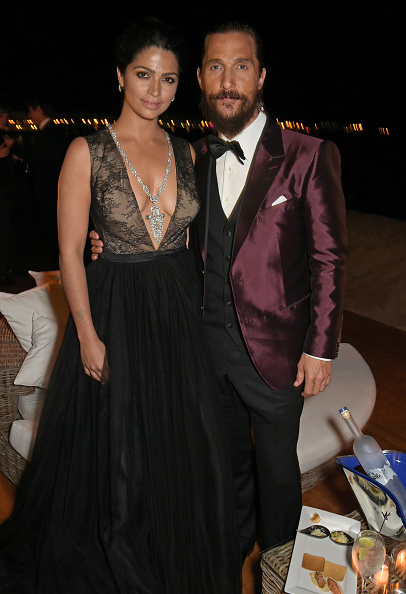 "CANNES, FRANCE – MAY 16:  Camila Alves (L) and Matthew McConaughey attend ""The Sea of Trees"" party hosted by GREY GOOSE at Baoli Beach on May 16, 2015 in Cannes, France.  (Photo by David M. Benett/Getty Images for GREY GOOSE)"