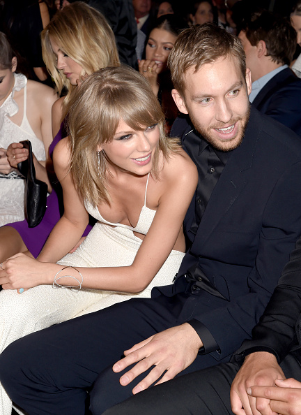 LAS VEGAS, NV – MAY 17:  Singer Taylor Swift (L) and DJ Calvin Harris attend the 2015 Billboard Music Awards at MGM Grand Garden Arena on May 17, 2015 in Las Vegas, Nevada.  (Photo by Jeff Kravitz/BMA2015/FilmMagic)
