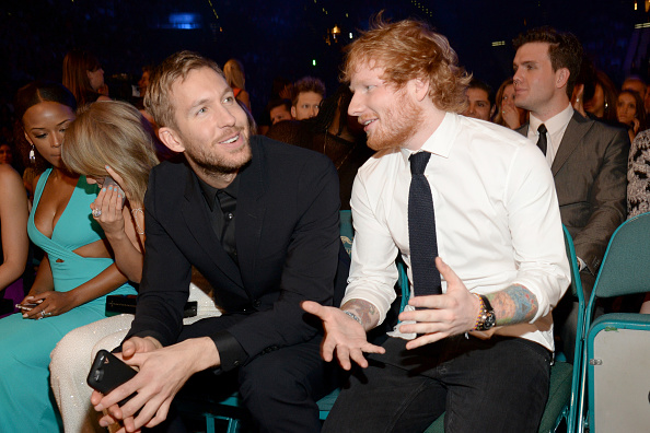LAS VEGAS, NV – MAY 17:  (L-R) Recording artists Serayah, Taylor Swift, Calvin Harris and Ed Sheeran attend the 2015 Billboard Music Awards at MGM Grand Garden Arena on May 17, 2015 in Las Vegas, Nevada.  (Photo by Kevin Mazur/BMA2015/WireImage)