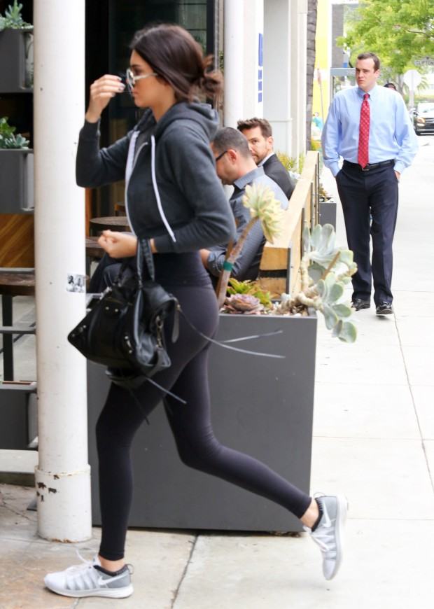Kendall Jenner stepped out for a quick bite at Sugarfish, with girlfriend Hailey Baldwin.  The reality star was in a dark hoodie and matching tights, with sneakers, on Thursday, June 4, 2015  X17online.com