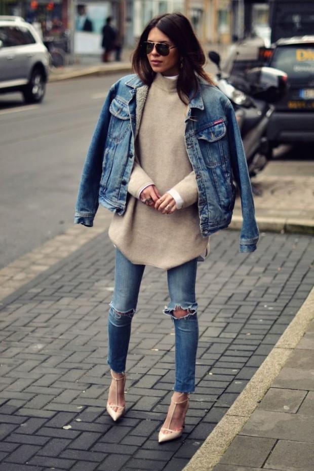 Resultado de imagem para look com calça jeans rasgada na barra