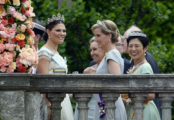(LtoR) Sweden's Crown Princess Victoria, Britain's Sophie, Countess of Wessex, and Hisako Takamado of Japan are pictured after the wedding ceremony of Sweden's Crown Prince Carl Philip and Sofia Hellqvist at Stockholm Palace on June 13, 2015. AFP PHOTO / JONATHAN NACKSTRAND        (Photo credit should read JONATHAN NACKSTRAND/AFP/Getty Images)