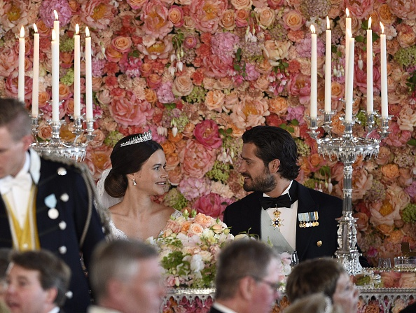 Princess Sofia and Prince Carl Philip attend the wedding dinner in the Royal Palace in Stockholm afterafter their wedding at Stockholm Palace on June 13, 2015. AFP PHOTO / TT NEWS AGENCY / ANDERS WIKLUND +++ SWEDEN OUT +++        (Photo credit should read ANDERS WIKLUND/AFP/Getty Images)