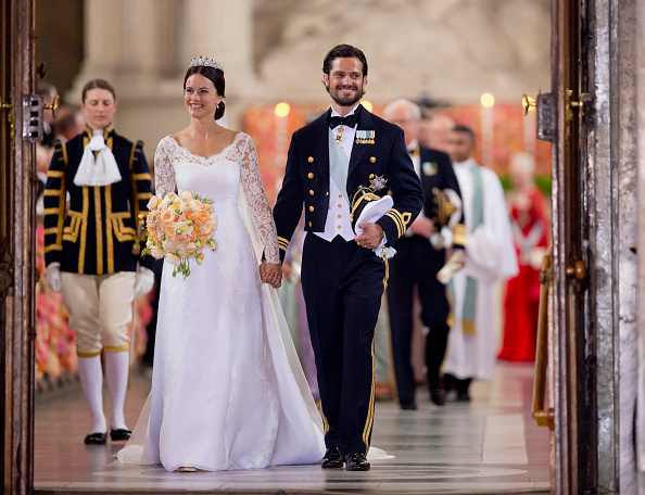 STOCKHOLM, SWEDEN – JUNE 13:    Prince Carl Philip of Sweden, and Princess Sofia of Sweden,leave their wedding ceremony at the Royal Chapel at the Royal Palace on June 13, 2015 in Stockholm, Sweden.  (Photo by Julian Parker/UK Press via Getty Images)