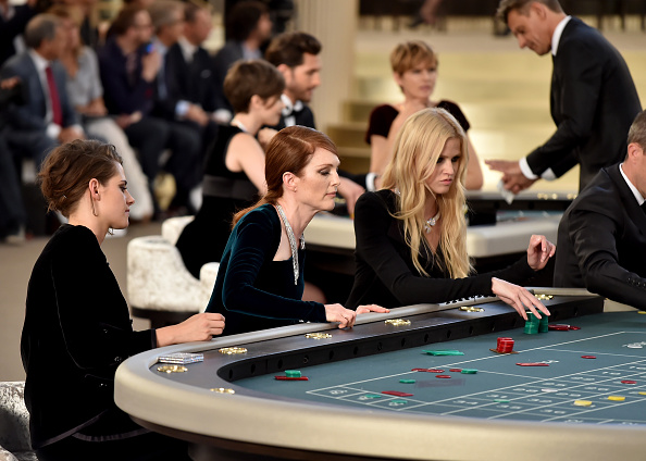 PARIS, FRANCE – JULY 07:  (L-R) Kristen Stewart, Julianne Moore and Lara Stone attend the Chanel show as part of Paris Fashion Week Haute Couture Fall/Winter 2015/2016 at the Grand Palais on July 7, 2015 in Paris, France.  (Photo by Gareth Cattermole/Getty Images)