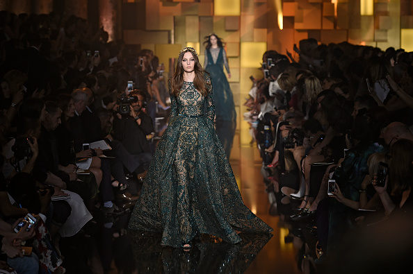 PARIS, FRANCE – JULY 08:  A model walks the runway at the Elie Saab Autumn Winter 2015 fashion show during Paris Haute Couture Fashion Week on July 8, 2015 in Paris, France.  (Photo by Catwalking/Getty Images)