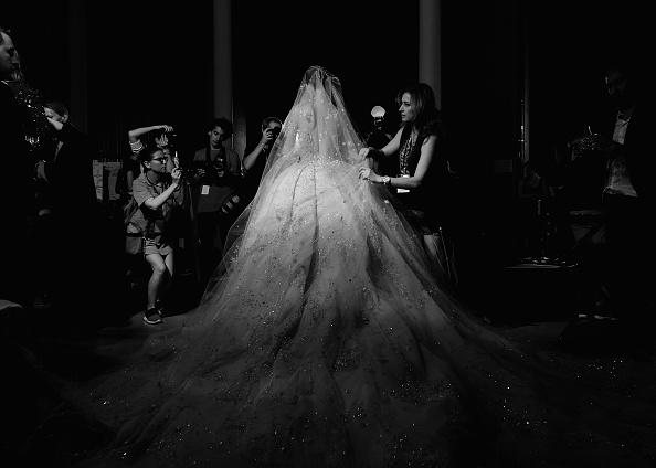 PARIS, FRANCE – JULY 09:  (EDITORS NOTE: Image has been converted to black and white) A model backstage before the Zuhair Murad show as part of Paris Fashion Week Haute Couture Fall/Winter 2015/2016 at Palais de Tokyo on July 9, 2015 in Paris, France.  (Photo by Gareth Cattermole/Getty Images)