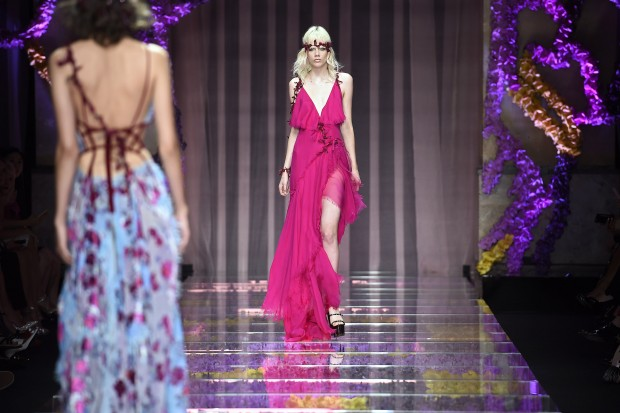 PARIS, FRANCE - JULY 05:  A model walks the runway at the Atelier Versace Autumn Winter 2015 fashion show during Paris Haute Couture Fashion Week on July 5, 2015 in Paris, France.  (Photo by Catwalking/Getty Images)