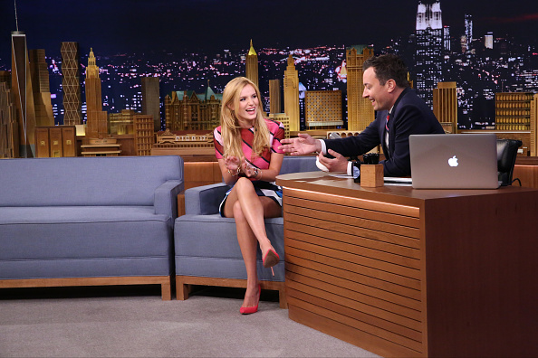 THE TONIGHT SHOW STARRING JIMMY FALLON -- Episode 0302 -- Pictured: (l-r) Actress Bella Thorne during an interview with host Jimmy Fallon on July 30, 2015 -- (Photo by: Douglas Gorenstein/NBC/NBCU Photo Bank via Getty Images)