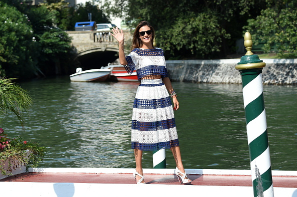 VENICE, ITALY – SEPTEMBER 02:  Alessandra Ambrosio is seen on day 1 of the 72nd Venice Film Festival on September 2, 2015 in Venice, Italy.  (Photo by Venturelli/GC Images)
