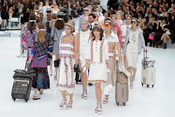 PARIS, FRANCE - OCTOBER 06:  Models walk the runway during the Chanel show as part of the Paris Fashion Week Womenswear Spring/Summer 2016 on October 6, 2015 in Paris, France.  (Photo by Dominique Charriau/WireImage)