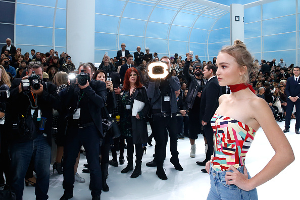 PARIS, FRANCE – OCTOBER 06:  Lily Rose Depp attends the Chanel show as part of the Paris Fashion Week Womenswear Spring/Summer 2016. Held at Grand Palais on October 6, 2015 in Paris, France.  (Photo by Rindoff/Le Segretain/Getty Images)