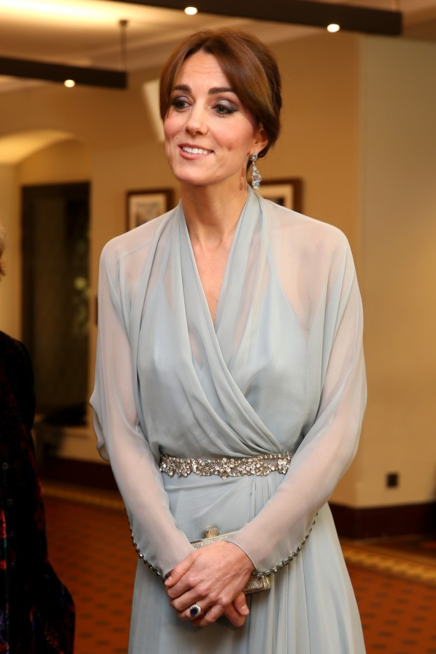 """LONDON, ENGLAND - OCTOBER 26:  Catherine, Duchess of Cambridge attends The Cinema and Television Benevolent Fund's Royal Film Performance 2015 of the 24th James Bond Adventure, """"Spectre"""" at Royal Albert Hall on October 26, 2015 in London, England.  (Photo by Chris Jackson/Getty Images)"""