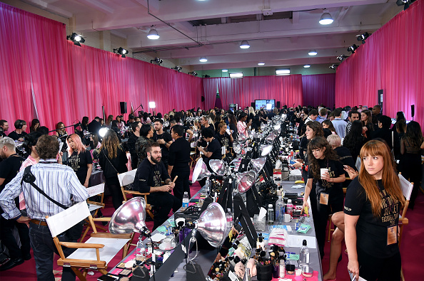 NEW YORK, NY - NOVEMBER 10:  A general view of atmosphere backstage before the 2015 Victoria's Secret Fashion Show at Lexington Avenue Armory on November 10, 2015 in New York City.  (Photo by Jamie McCarthy/Getty Images)