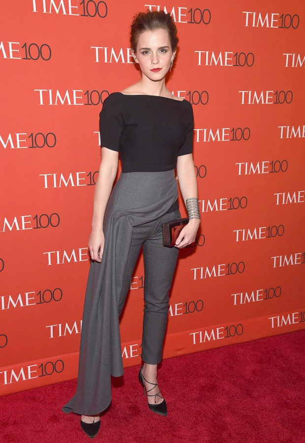 Emma-Watson-in-a-black-shirt-and-dark-grey-skirt-pants-hybrid-outfit