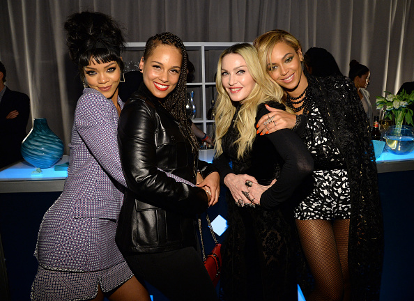 NEW YORK, NY - MARCH 30:  (Exclusive Coverage) Rihanna, Alicia Keys, Madonna and Beyonce attend the Tidal launch event #TIDALforALL at Skylight at Moynihan Station on March 30, 2015 in New York City.  (Photo by Kevin Mazur/Getty Images For Roc Nation)
