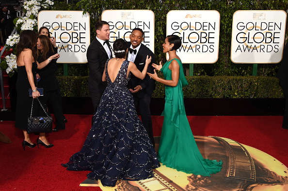 BEVERLY HILLS, CA – JANUARY 10:  (L-R) Actors Channing Tatum, Jenna Dewan Tatum, Jada Pinkett Smith, and Will Smith attend the 73rd Annual Golden Globe Awards held at the Beverly Hilton Hotel on January 10, 2016 in Beverly Hills, California.  (Photo by Jason Merritt/Getty Images)