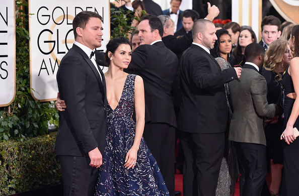 BEVERLY HILLS, CA – JANUARY 10:  Actors Channing Tatum (L) and Jenna Dewan Tatum attend the 73rd Annual Golden Globe Awards held at the Beverly Hilton Hotel on January 10, 2016 in Beverly Hills, California.  (Photo by John Shearer/Getty Images)