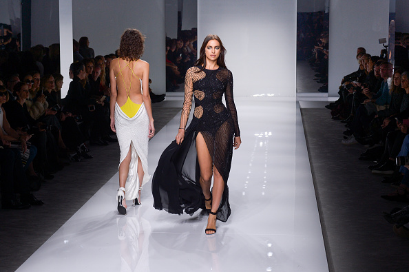 PARIS, FRANCE – JANUARY 24:  A model walks the runway during the Versace Haute Couture Spring Summer 2016 show as part of Paris Fashion Week on January 24, 2016 in Paris, France.  (Photo by Victor Boyko/WireImage)