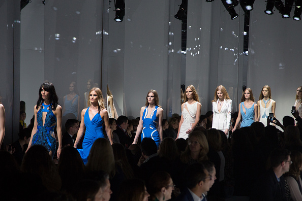 PARIS, FRANCE – JANUARY 24:  Models walk the runway during the Versace Haute Couture Spring Summer 2016 show as part of Paris Fashion Week on January 24, 2016 in Paris, France.  (Photo by Victor Boyko/WireImage)