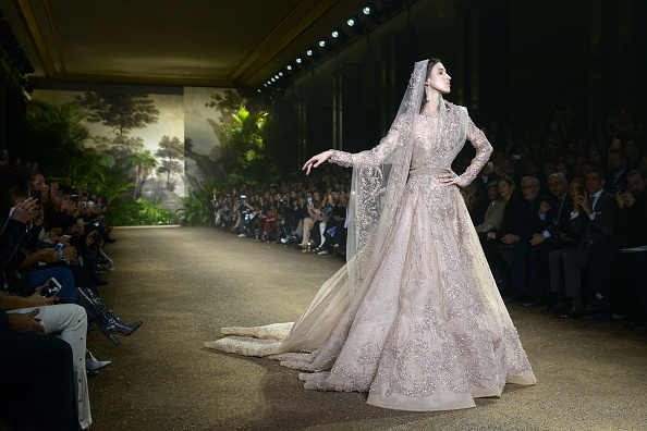 PARIS, FRANCE – JANUARY 27:  A model as the bride  walks the runway during the Elie Saab Haute Couture Spring Summer 2016 show as part of Paris Fashion Week on January 27, 2016 in Paris, France.  (Photo by Dominique Charriau/WireImage)