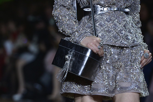 PARIS, FRANCE – JANUARY 27:  A model (bag detail) walks the runway during the Elie Saab Haute Couture Spring Summer 2016 show as part of Paris Fashion Week on January 27, 2016 in Paris, France.  (Photo by Dominique Charriau/WireImage)