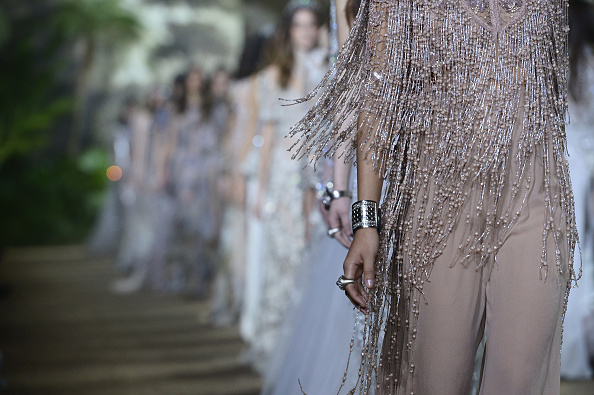 PARIS, FRANCE – JANUARY 27:  A model (detail) walks the runway during the Elie Saab Haute Couture Spring Summer 2016 show as part of Paris Fashion Week on January 27, 2016 in Paris, France.  (Photo by Dominique Charriau/WireImage)