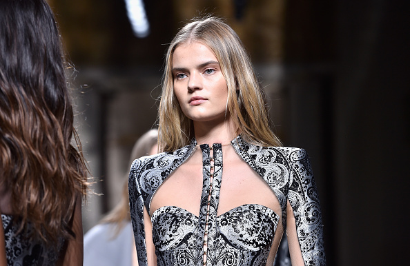 A model walks the runway during the Balmain show as part of the Paris Fashion Week Womenswear Fall/Winter 2016/2017 on March 3, 2016 in Paris, France.