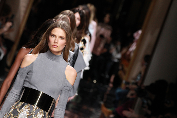 PARIS, FRANCE – MARCH 03:  A model walks the runway during the Balmain show as part of the Paris Fashion Week Womenswear Fall/Winter 2016/2017 on March 3, 2016 in Paris, France.  (Photo by Antonio de Moraes Barros Filho/WireImage)