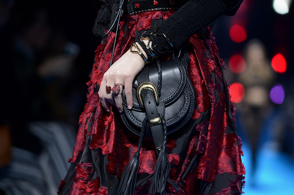 PARIS, FRANCE – MARCH 05:  A model, detail, walks the runway during the Elie Saab  show as part of the Paris Fashion Week Womenswear Fall/Winter 2016/2017 on March 5, 2016 in Paris, France.  (Photo by Dominique Charriau/WireImage)