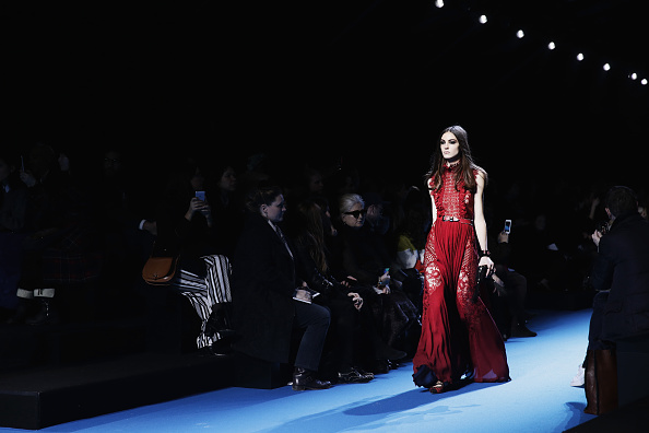 PARIS, FRANCE – MARCH 05:  (EDITORS NOTE: Image has been desaturated.) A model walks the runway during the Elie Saab show as part of the Paris Fashion Week Womenswear Fall/Winter 2016/2017 on March 5, 2016 in Paris, France.  (Photo by Vittorio Zunino Celotto/Getty Images)