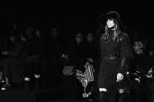 PARIS, FRANCE – MARCH 05:  (EDITORS NOTE: Image has been converted to black and white.) Sara Sampaio walks the runway during the Elie Saab show as part of the Paris Fashion Week Womenswear Fall/Winter 2016/2017 on March 5, 2016 in Paris, France.  (Photo by Vittorio Zunino Celotto/Getty Images)