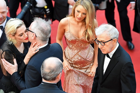 "President of the Cannes Film Festival Pierre Lescure (Bottom L) and the General Delegate Thierry Fremaux (2nd L) welcome (From L) US actress Kristen Stewart, US actress Blake Lively and US director Woody Allen as they arrive for the screening of the film ""Cafe Society"" during the opening ceremony of the 69th Cannes Film Festival in Cannes, southern France.  / AFP / Antonin THUILLIER        (Photo credit should read ANTONIN THUILLIER/AFP/Getty Images)"