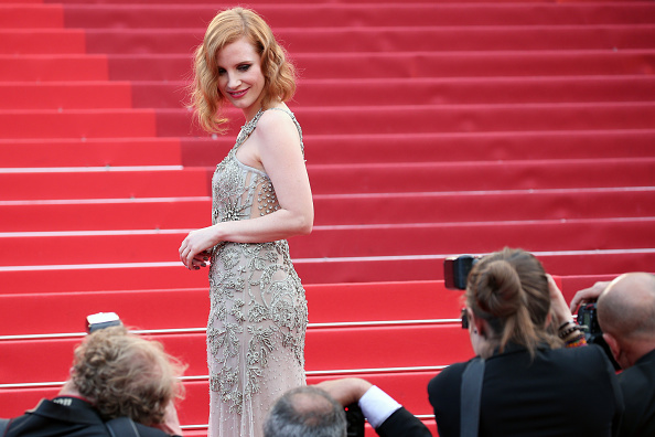 "CANNES, FRANCE – MAY 12:  Us actress Jessica Chastain attends the ""Money Monster"" premiere during the 69th annual Cannes Film Festival at the Palais des Festivals on May 12, 2016 in Cannes, France.  (Photo by Gisela Schober/Getty Images)"