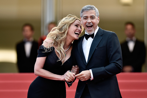 "CANNES, FRANCE – MAY 12:  Actors Julia Roberts and George Clooney attend the ""Money Monster"" premiere during the 69th annual Cannes Film Festival at the Palais des Festivals on May 12, 2016 in Cannes, France.  (Photo by Pascal Le Segretain/Getty Images)"