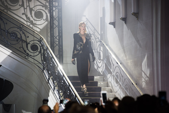 PARIS, FRANCE – JULY 06:  A model walks the runway during the Elie Saab  Haute Couture Fall/Winter 2016-2017 show as part of Paris Fashion Week  on July 6, 2016 in Paris, France.  (Photo by Stephane Cardinale – Corbis/Corbis via Getty Images)