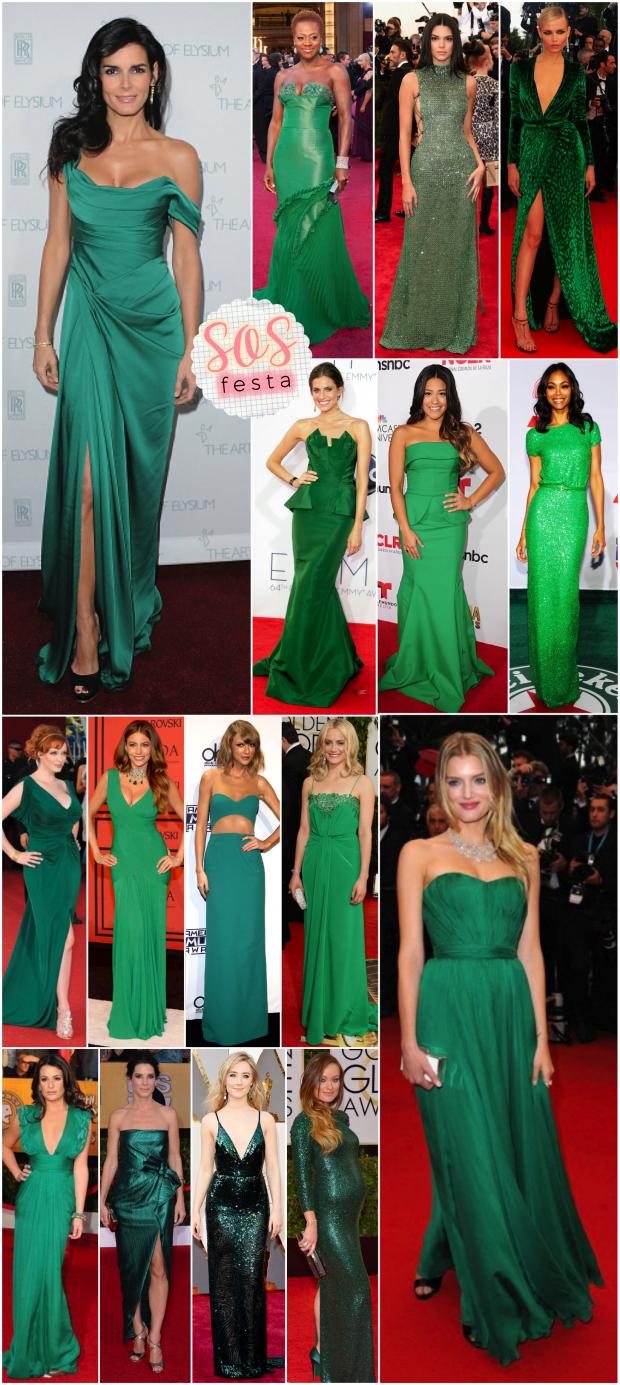 vestido verde festa