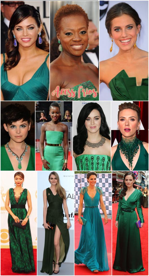 Acessorios para usar com vestido verde longo