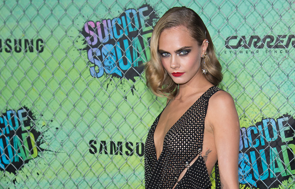 "NEW YORK, NY – AUGUST 01:  Actress Cara Delevigne attends the ""Suicide Squad"" World Premiere at The Beacon Theatre on August 1, 2016 in New York City.  (Photo by Mark Sagliocco/Getty Images)"