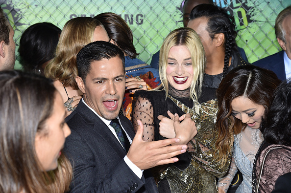 NEW YORK, NY – AUGUST 01: Actors Jay Hernandez and Margot Robbie attend the Suicide Squad premiere sponsored by Carrera at Beacon Theatre on August 1, 2016 in New York City.  (Photo by Bryan Bedder/Getty Images for Carrera)