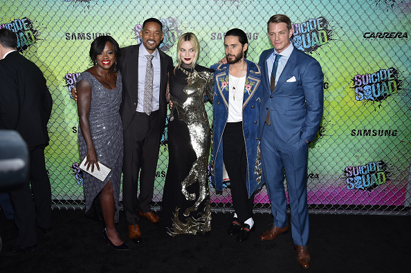 NEW YORK, NY – AUGUST 01:  (L-R) Actors Viola Davis, Will Smith, Margot Robbie, Jared Leto and Joel Kinnaman attend the Suicide Squad premiere sponsored by Carrera at Beacon Theatre on August 1, 2016 in New York City.  (Photo by Bryan Bedder/Getty Images for Carrera)