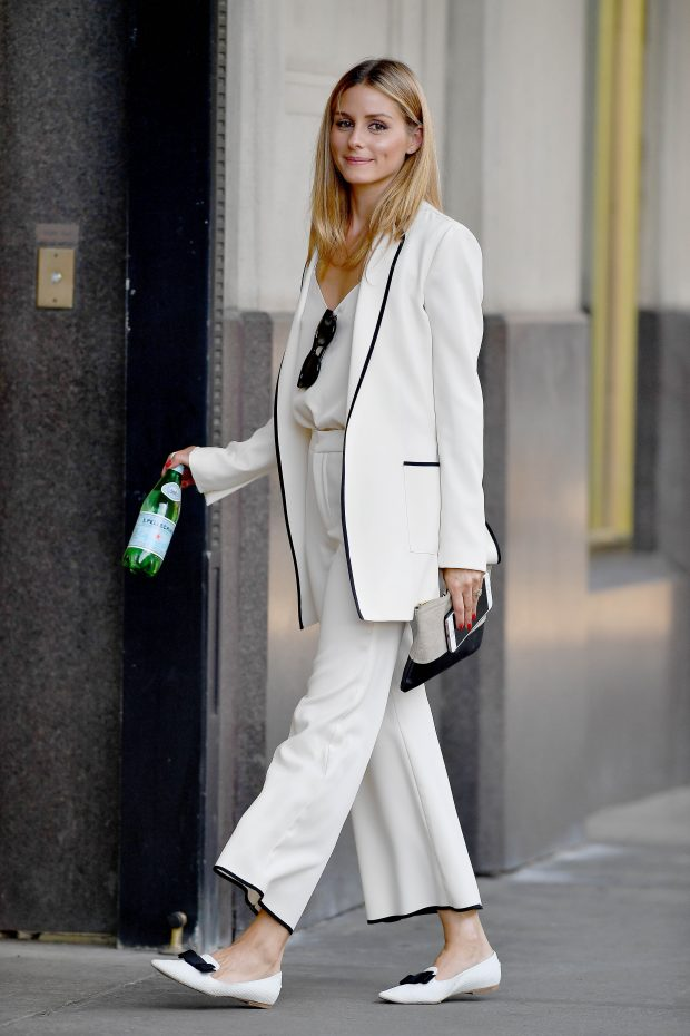 EXCLUSIVE: Olivia Palermo seen wearing a cream colored suit with black trim in Brooklyn, New York